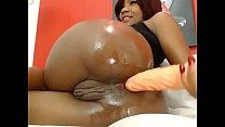 Phat ass ebony enjoys anal on cam