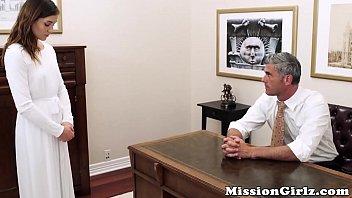 Mormon elder inspects virgin pussy before fingerfucking her 8 min