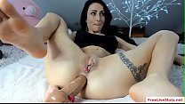 Horny raven Amalia Nilsson toys ass on webcam