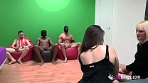 Estefani and Victoria fuck each other and then get fucked by cocks every shape, color and size