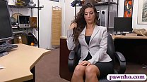 Hot brunette woman pursuaded to fuck with pawn keeper