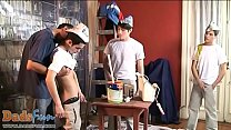 Cute boys and a daddy make a heated painting orgy