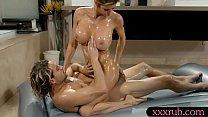 Big breasts milf masseuse gives massage