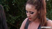 Latex Dominatrix Eva Notty plays with her Busty slave Maserati