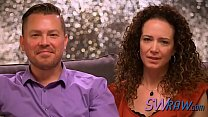 Curly-haired wife gives head and fucks with other swingers in reality show
