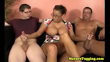 Spex MILF jerking stepsons and hubbys dick