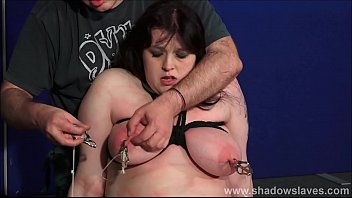 Cruel bbw bdsm and humiliating domination of tit tormented amateur slave Emma in harsh fetish punishments by her strict master