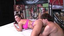 Busty Latin MILF Aleksa Nicole rides big cock in porn studio