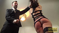 Handsome British skank gagged and dommed by big cock 9 min
