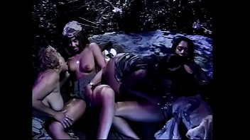 Black lesbians pleasures each other needy pussies with a strapon and vibrator