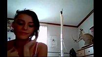 Gorgeous brunette masturbates on skype cam while talking on phone