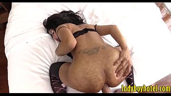 Hot ladyboy with glasses gets ass fucked