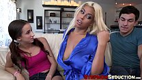 Busty stepmom and her hot stepdaughter destroyed by big cock