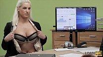 LOAN4K. Agent gives blonde some money for on-line shop with lingeri