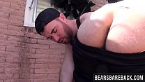 Two hunks Alex Mason and Owen Powers in backyard barebacking
