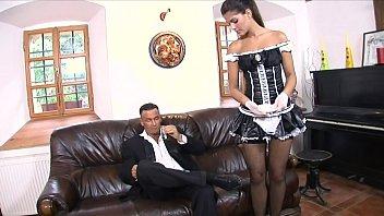 Massive dick dude fucks the mouth, asshole and cunt on sexy maid Defrancesca Gallardo