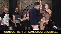 CROWD BONDAGE - Extreme BDSM fuck & bondage wheel with Tina Kay