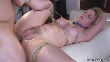 Blonde hostage tied up and anal fucked