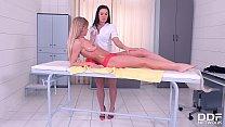 Leggy Lesbian Masseuse Athina Fingers And Licks Leggy Client l. Gartner