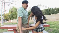 Brunette teen Gia Steel with natural tits gives head then rides a cock on the couch