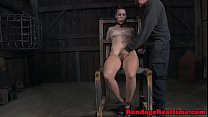 Restrained sub getting dildo banged