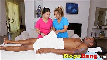 Accidental Hardon In Front Of Asian Massage Girls