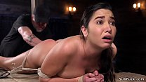 Hairy beauty made squirting in hogtie