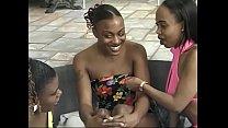 Busty ebony lesbians play with toys