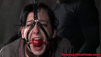 Gagged milf drooling while dominated