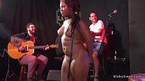Ebony bbw made sucking in public bar