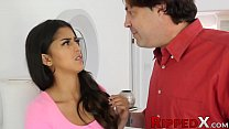 Ungrateful latina Sophia Leone pounded by hung step father