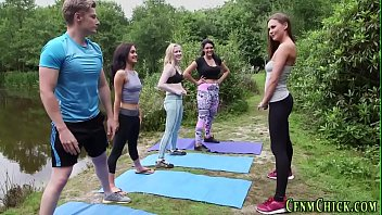 Clothed yoga brits jerk