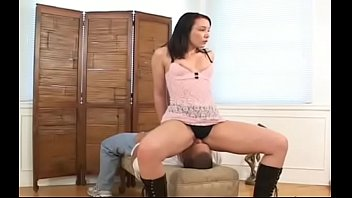 Great booty worship scenery with busty babe dominating her man