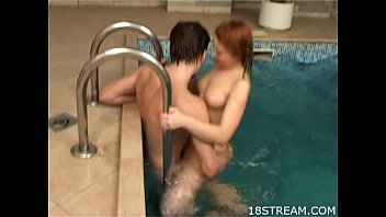 Couple bangs in a pool