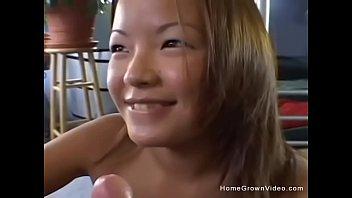 Asian cutie masturbating then sucking and fucking