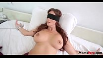Perv son fucks mom's mouth when shes blindfolded!