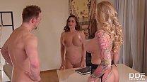 Busty milf Kayla Green & hot lawyer Cathy Heaven in XXX office threesome 23 min