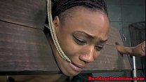 Black sub babe groped and toyed by master