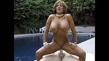Busty brunette Corina Curves gets a good fuck after cooling off in the pool 17 min