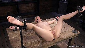 Spreaded legs blonde in bdsm vibrated 5 min