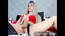 Valentina, blonde with big breasts and huge penis