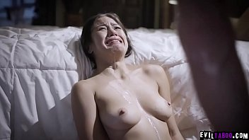 Crying exploited stepdaughter Kendra Spade drenched in sperm! 6 min