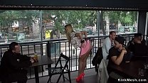 Blonde banged bent over table in public