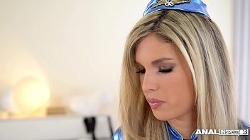 Anal inspectors double penetrate hot stewardess Eva Parcker to the extreme 19 min