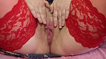 Mature hairy pussy with a wet hole close up, milf masturbating to orgasm.