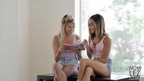 Teen babes having lesbian sex in their tutor's bed - Stephanie West and Averie Moore