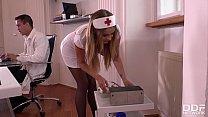 Hot nurse Candy Alexa gagged, handcuffed & ass fucked at the XXX clinic