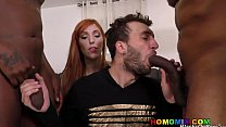 Hung black men sharing a bi curious guy in front of his wife