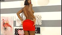 Sexy Big Tits Ebony Christmas Strip and Cum on Webcam