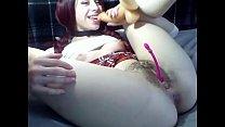 Hairy pussy  cutie anal play solo masturbation
